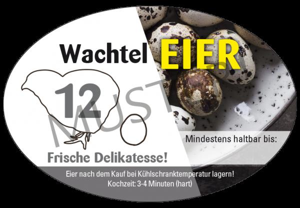 Ovale Etiketten 12er Eierschachteln Wachteleier