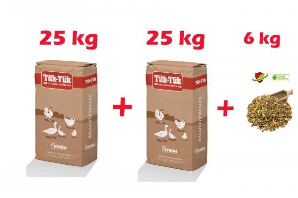 Tük Tük Vollkorn Legeschrot 50 kg plus 6 kg Geflügelkörnertraum