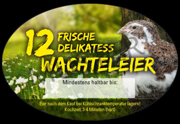 Ovale Etiketten 12er PET Eierschachteln, Motiv 1