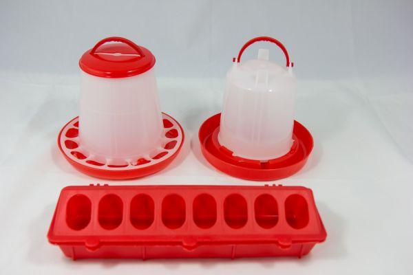 Futterspender und Tränken Set rot